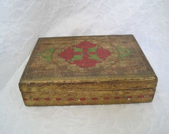 Large Vintage Painted Italian Wood Box Lidded Hinged Florentine Florentia Italianate made in Italy Green Gold Red