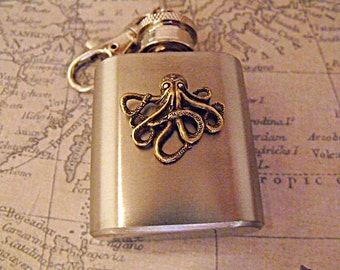 Flask, Steampunk Bronze Octopus Mini Key Chain Flask  1 Ounce  Mens  Womens Gift  Handmade