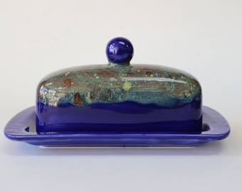 Blue Butter Dish, Butter Dish With Lid, Dome Lid Butter Dish, Ceramic Butter Dish, Covered Butter Dish, Modern Kitchen, Housewarming Gifts