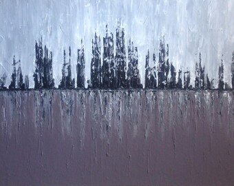 Cityscape Painting, Large Modern Wall Art, Large Abstract Canvas Art, Large Abstract Wall Art, Palette knife Art, 30x48x1.5