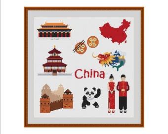 Chinese cross stitch, China cross stitch, Asian cross stitch, China, Great wall of china, Panda, Chinese dress, Chinese dragon, Chinese food