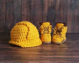 Baby Construction Boots and Hard Hat Set, Baby Boy Work Shoes, Crochet Baby Booties, Work Boots, Baby Construction Boots - Newborn Slippers