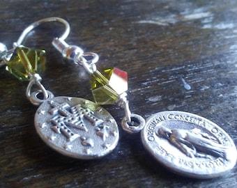 Miraculous Medal and Swarovski Crystal Earrings