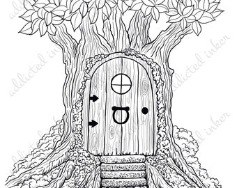 Fairy Door/Pixie house digital stamp | line art | papercrafting and scrapbooking