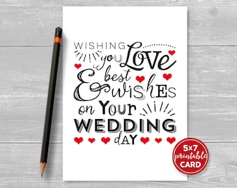 "Printable Wedding Card - Wishing You Love & Best Wishes On Your Wedding Day - 5""x7""- Includes Printable Envelope Template - Instant Download"
