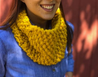 The Middletown Snood in Mustard / Infinity Scarf / Handmade Women's Cowl / Women's Chunky Knit Scarf / Yellow
