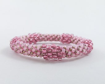 Medium Pink Bead Crochet Bangle - the Pentastic - Item 1535