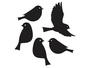 Bird wall decals, set of 5 birds, bird vinyl decal, sparrow, bird wall decor, vinyl bird sticker, tree bird decal, laptop decals, nursery