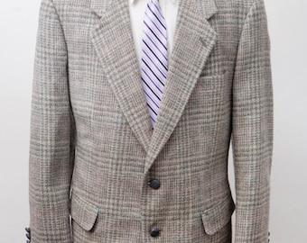 Men's Blazer / Vintage Tweed Plaid Jacket / Size 44R Large