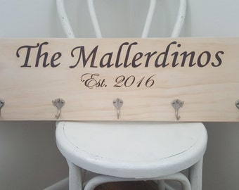 Hanging Wall Coat Rack With Last Name and Wedding Date Year