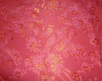 Fabric sewing birds Fuchsia / gold button