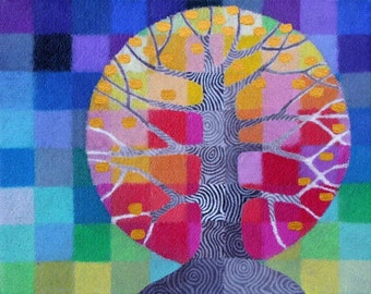 Tiny Test Pattern Tree 3 print, with handpainted details
