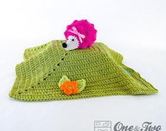Hedgehog Lovey / Security Blanket - PDF Crochet Pattern - Instant Download - Blankie Baby Blanket
