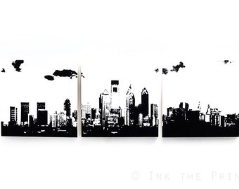 Philadelphia Skyline Wall Art: 3 Piece Triptych (Various Color Options) 3 x 1 Foot Philly Cityscape Screen Print & Painting