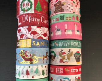 """18""""/24"""" SAMPLES of Recollections Christmas assorted washi tape (M252)"""