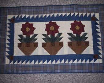 """Quilted Wall Hanging or Table Topper 24 1/2"""" X 40"""" Thimbleberries"""