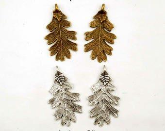 2 Antique Bronze  Or Antique Silver Oak Leaf Pendant/Charms - 22A-3