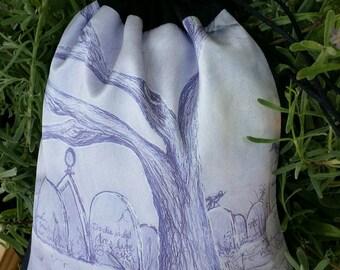 Graveyard Purse - Cemetery Bag - Tree Purse - Bird Purse - Full Moon Pouch - Black Drawstring Pouch - Crow Bag - Monochrome - Night Watch