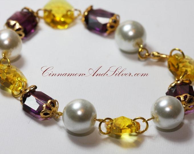 Purple and Yellow Crystal Link Swarovski Bracelet, Purple Crystal Swarovski Bracelet, Purple and Yellow Crystal Link Bracelet