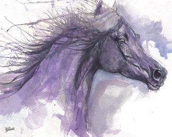 Black horse, equine art, horse portrait, cheval, equestrian, original watercolor painting