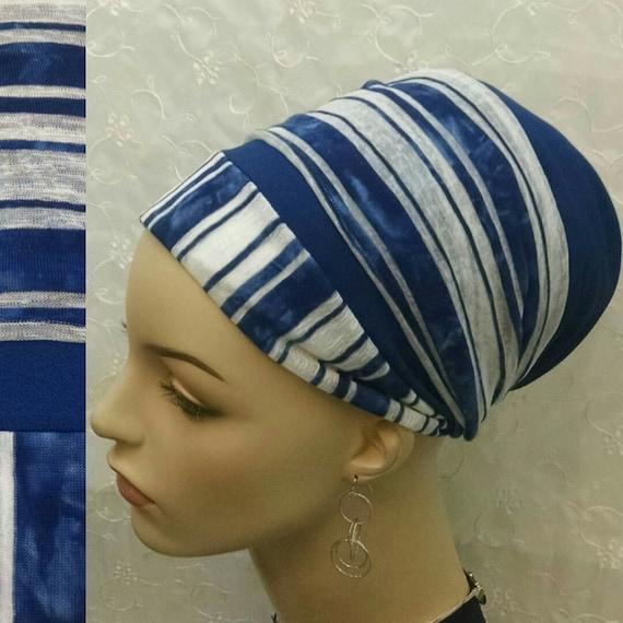 NEW**Chic tie-dye blue and white sinar tichel, tichels, head wrap, head scarf, hair snood, chemo scarf, alopecia, Jewish head covering