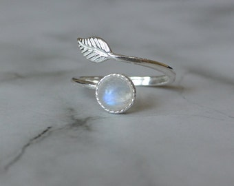 Sterling Silver Adjustable  Feather Wrap Ring, Rainbow Moonstone Feather Ring, Gemstone Feather Ring, Moonstone Ring, Gift For Her