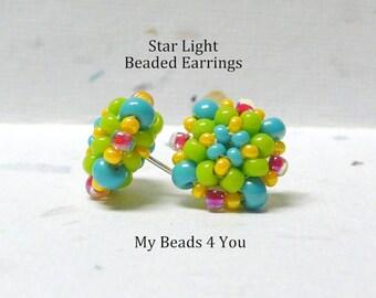 Beaded Earrings,Beadwoven Earrings, Seed Bead Earrings, Stud Earrings, Beaded Jewelry, Beadwork, Gift for Her