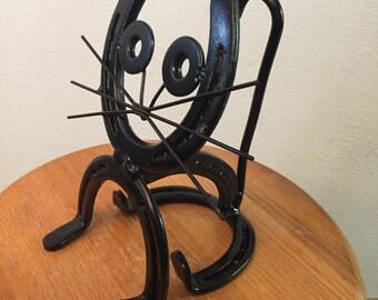 Horseshoe Cat Sculpture