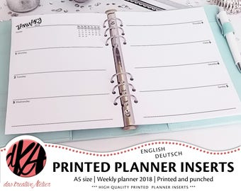PLANNER INSERTS A5 | 2018 | one week two pages | 1w2p | Filofax | printed, cut and punched | dated | unlined or lined