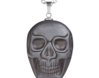 34-36mm Hematite carved skull pendant focal bead (pendant only)