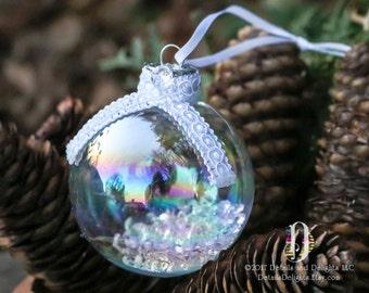 Brocade White Diamond Glass Round Ornament, White Woven Ribbon Scarf Trim Glitter, Crystal Bead Gem Christmas Holiday Tree Decor