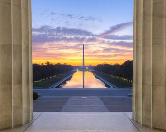 Hauptstadt Sunrise, Washington DC Fotografie - National Mall, reflektierenden Pool - Fine Art Print, das Washington Monument, Lincoln Memorial Art