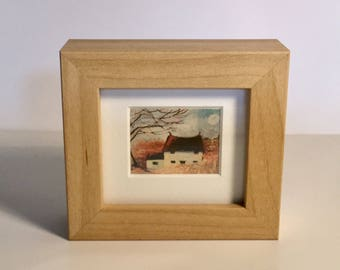 Small framed prints - various image and frame colour available - discount on multiple purchases - cottage, hares clourful art paintins.