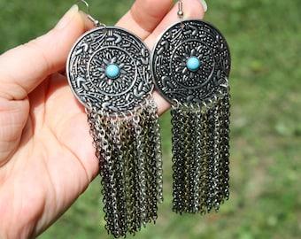 Bohemian Mixed Metal Turquoise Earrings - Shoulder Dusters - Extra Long Statement Earrings - Large Disc Earrings - Chain Fringe Earrings