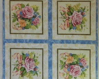 "Cotton Fabric - South Sea Imports - Coming Up Roses 43"" x 23 1/2"" Panel  -  CLEARANCE SALE!!!"