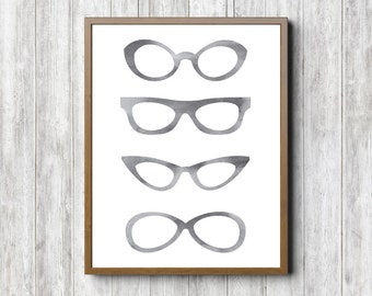 Watercolor Eyeglasses Printable Wall Decor - Eyewear Wall Art - Spectacles Digital Print - Gray Wall Art - Optometrist /Optician Art Gift