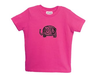 Elephant rose enfant Tshirt taille 2 4 6 American Apparel coton T2 T4 T6