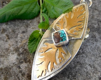 Woodland leaf necklace - Turquoise - Fall necklace - Silver nature necklace - Sterling silver and brass - stone statement necklace - leaves