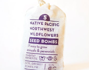 Native Seed Bombs Pacific Northwest Wildflowers  Gardening Gift