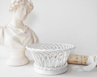 Basketweave Fruit Bowl White Ironstone Vintage Dish