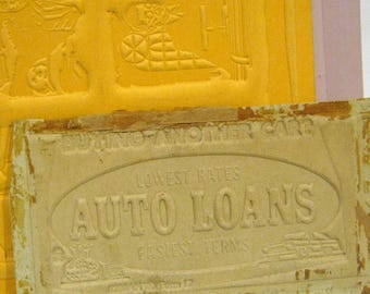 Vintage Newspaper Printing Plates, Stereotypes, Stereo Plates, Banking Ads