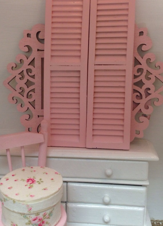 Pink Shutters- 1:12 scale dollhouse