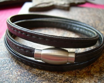 Mens Leather Bracelets Leather Bracelet Stitched Nappa Leather Wrap Bracelet with a Stainless Steel Magnetic Clasp Mens Bracelet