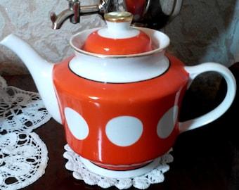 Red White Polka Dot Teapot Vintage Soviet Red White Gold Porcelain Tea Pot  Made in the USSR  60's.