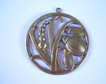 Vintage Brass Flower Floral Stamping Pendant