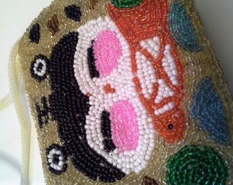 Reduced cute beaded zippered bag, design on both sides