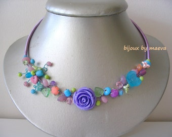 fancy necklace blue turquoise, purple and lime green Rose