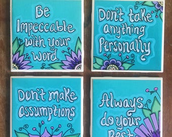 The Four Agreements Wall Decor /Set of 4 Ceramic Tiles