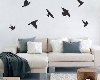 Flying Birds Vinyl Wall Decal Murals Colors Wall Designs Reusable Bird Decal Bird Wall Graphics Bird Wallpaper Removable Bird Stickers, d64