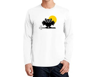 An Owl in the Moonlight T-shirt Men Long Sleeve